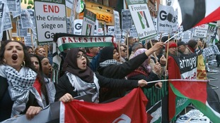 Pro-Palestinian demonstrators protest against Israel's actions in Gaza