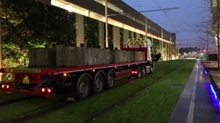 Photo of lorry on Midland Metro track in Birmingham