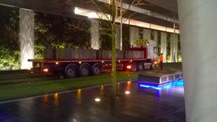 Photo of lorry on Midland Metro track in Birmingham