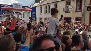 Crowds packed the streets of Castle Douglas for the Tour.