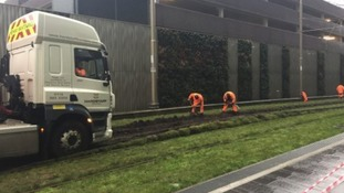 Lorry driver freed to continue journey after getting stuck on city tram line