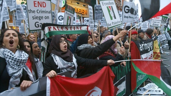 Pro-Palestinian demonstrators protest near the Israeli Embassy in London
