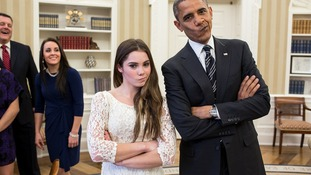 "President Barack Obama jokingly mimics US Olympic gymnast McKayla Maroney's ""not impressed"" look"