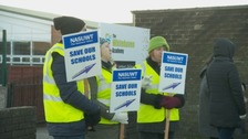 Teachers on strike outside the Academy last week.