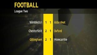 Football results for Aldershot, Oxford United and Gillingham