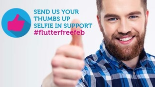 Those who pledge are invited to send a selfie using the hashtag 'flutterfreefeb'