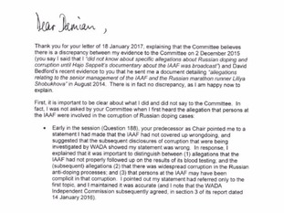 The letter from Lord Coe to Damian Collins at the Culture, Media and Sport Committee.