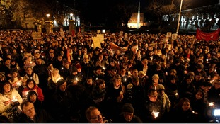 Protesters hold a vigil in Dublin after the death of Savita Halappanavar who was refused an abortion