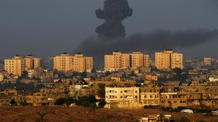 Smoke rises after Israeli air strike on the northern Gaza Strip