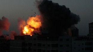 An explosion in Gaza City following an Israeli air strike