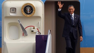 US President Barack Obama arrives at Don Muang international airport in Bangkok