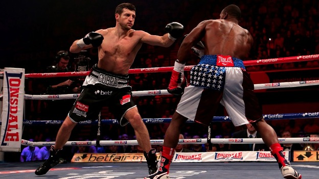 Carl Froch in action against Yusaf Mack during the IBF World Super Middleweight Title