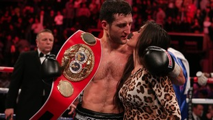 Carl Froch celebrates beating Yusaf Mack with girlfriend Rachael Cordingley