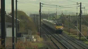 The railway line passing through Reston.