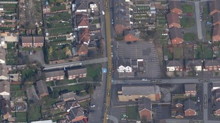 Aerial view showing approximate location of the hit & run