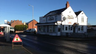 The scene outside The Leopard Pub in Sedgley where a 21-year-old man died in a hit & run last night