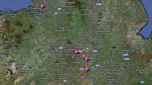 The main cluster of sites are here in the West Midlands