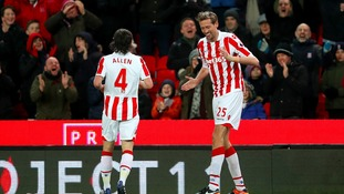 Peter Crouch celebrates after scoring 100th goal in the Premier League