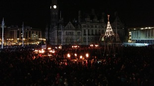 Crowds in Bradford's Centenary Square