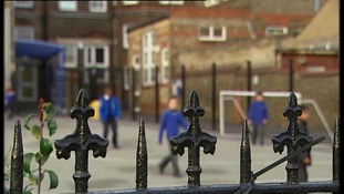 Children in the playground at Downhills School.