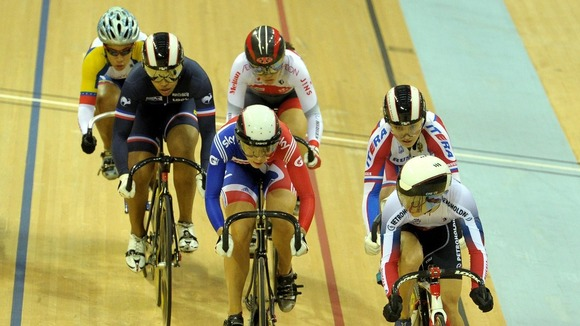 Becky James (c) in keirin first round