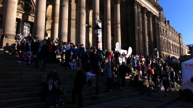 Competitors gathered in Leeds after the Abbey Dash