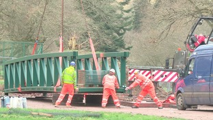 The bridge is to be moved into place this afternoon.