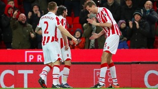 Peter Crouch celebrates his 100th Premier League goal with the 'robot'