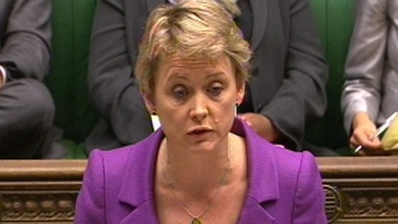Shadow Home Secretary Yvette Cooper pictured addressing the House of Commons