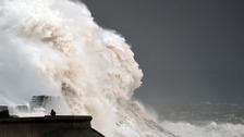 Porthcawl during storm