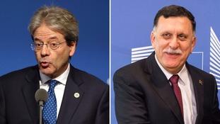 Italian prime minister Paolo Gentiloni, and Libyan premier Fayez Serraj.