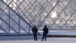 The area surrounding the Louvre has been cordoned off