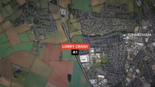 A man has died following a crash involving three lorries near Grantham
