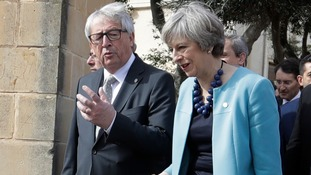 Mrs May and European Commission President Jean-Claude Juncker.
