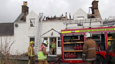 It is believed the fire began upstairs, and spread through the roof.