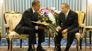 President Obama speaks with Thailand's King Bhumibol Adulyadej