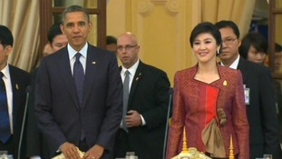 President Obama is guest of honour at a state dinner in Thailand