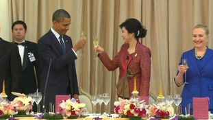 A toast to US-Thailand relations is made at a state dinner