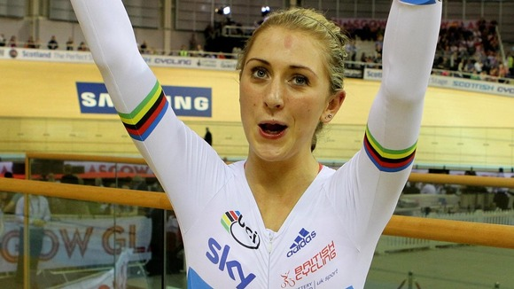 Laura Trott celebrates winning the Omnium during the UCI Track Cycling World Cup
