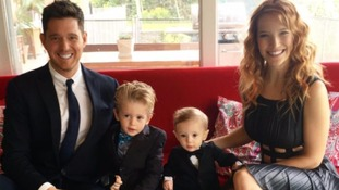Michael Bublé with his wife and sons Noah and Elias.