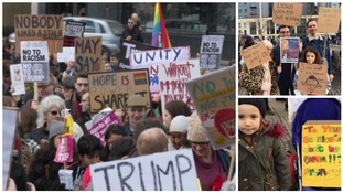 Hundreds of people gather in Bristol to protest over Trump's travel ban