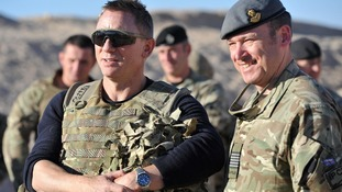 Daniel Craig pictured with troops at Camp Bastion