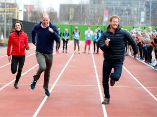 William, Kate and Harry compete in a sprint race.