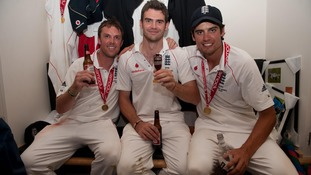 England and Cook celebrate winning the Ashes in 2009.