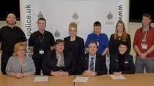 Back row: Dave Sutherland, Temporary Inspector Phil Spencer, Alishia Calvert, Hayley Rowland, Andrew Ball. Front row: Julie Peyton