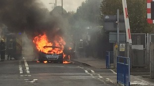 Vauxhall Zafira B on fire