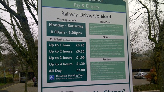 Parking charges sign in Coleford