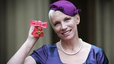 Former Eurythmics star Annie Lennox after collectng her OBE.