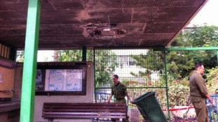 A hole punctured in the roof of a school in Ashkelon