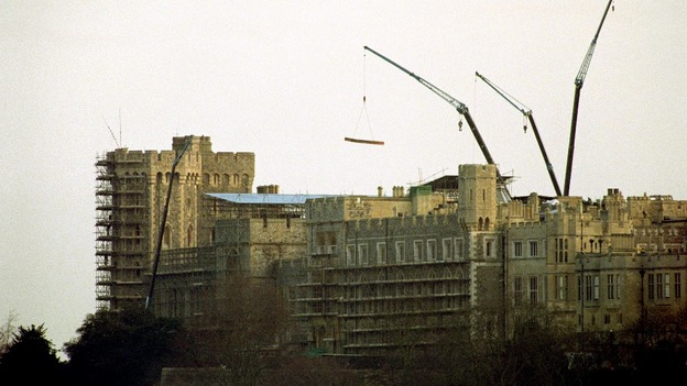 Parts of Windsor Castle are shrouded in scaffolding eight weeks after fire ripped through the Chapel and some of the state apartments. 